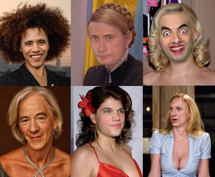 Мужчины знаменитости в образе женщин