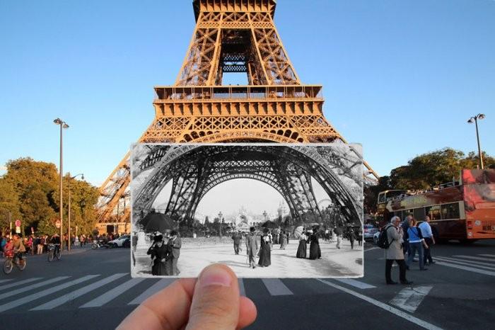 Фотографии винтажного и современного Парижа