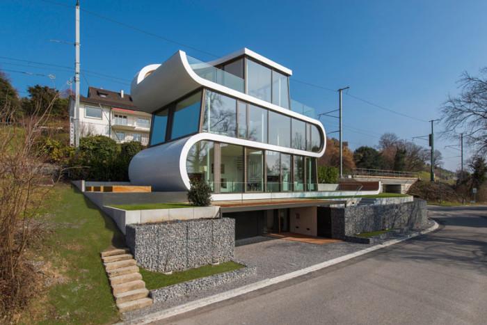 Дом в Швейцарии в виде ленты