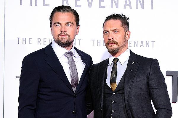 Леонардо ДиКаприо и Том Харди на премьере Выжившего