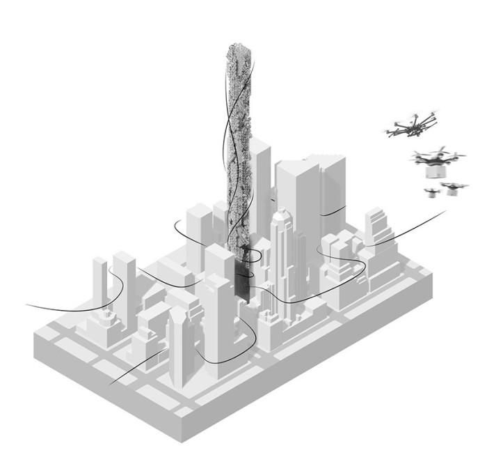 Станция дронов на небоскребе