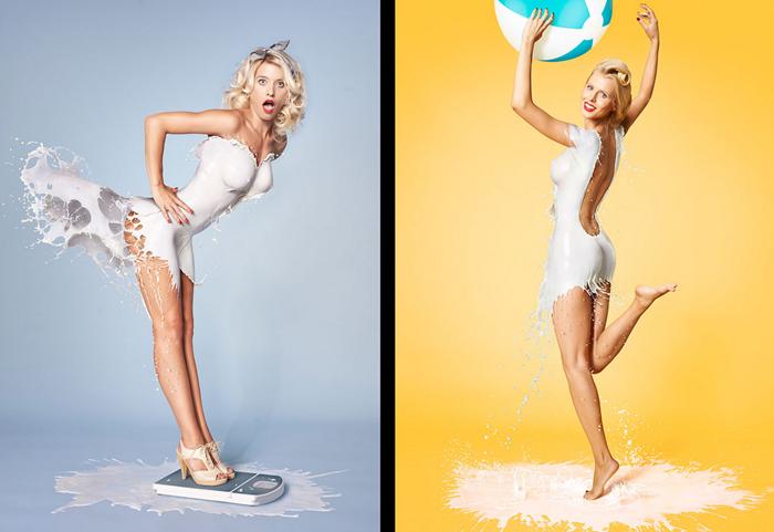 Красивые женщины одетые в молоко и воду
