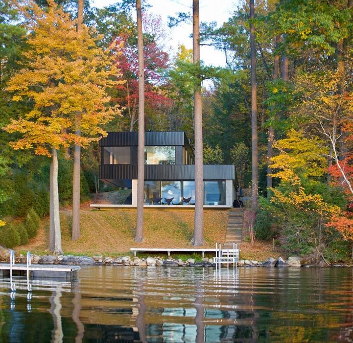 Вдохновляющее современное убежище в Вермонте: дом у озера
