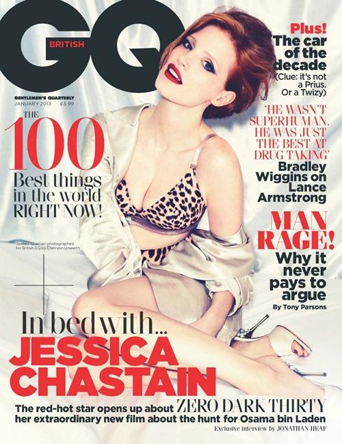 Джессика Честейн в фотосессии GQ январь 2013