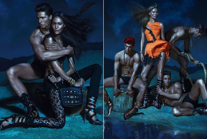 Кейт Мосс, Джоан Смоллс и Дарья Вербова в рекламной кампании Versace 2013