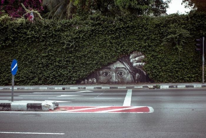 Слияние природы с уличным искусством